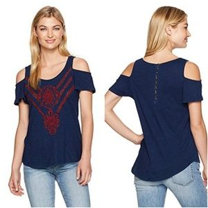 Lucky Brand • Embroidered Cold Shoulder Tee XS